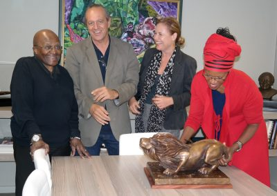 Handover of bronze Lion to Tutu Legacy